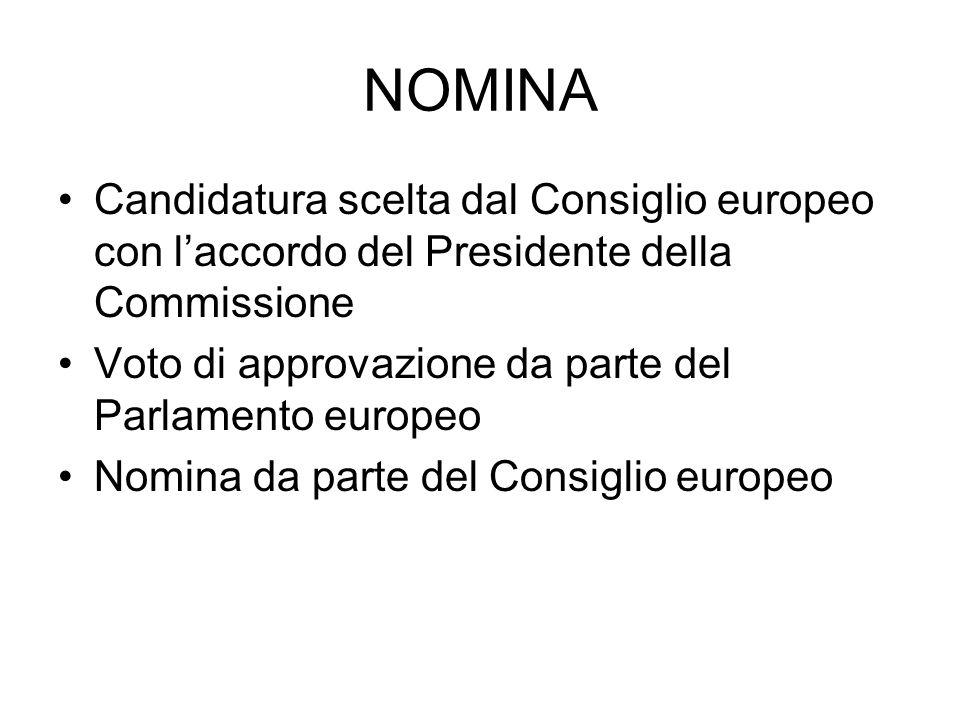 NOMINA Candidatura scelta dal Consiglio europeo con l'accordo del Presidente della Commissione. Voto di approvazione da parte del Parlamento europeo.