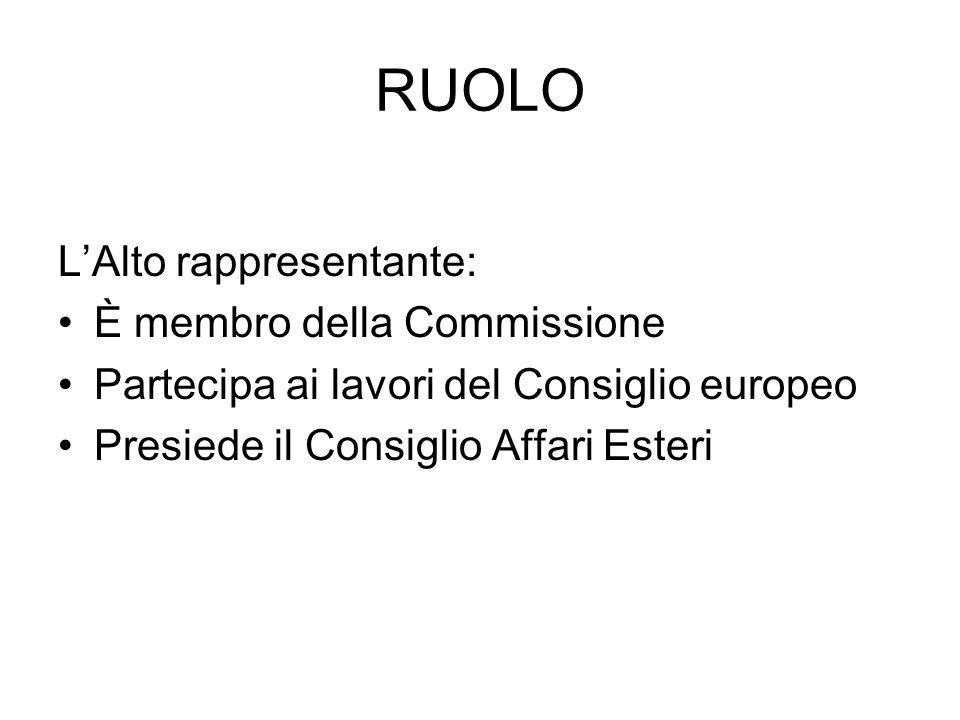 RUOLO L'Alto rappresentante: È membro della Commissione