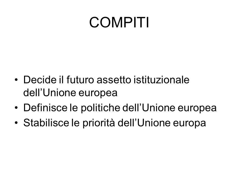 COMPITI Decide il futuro assetto istituzionale dell'Unione europea