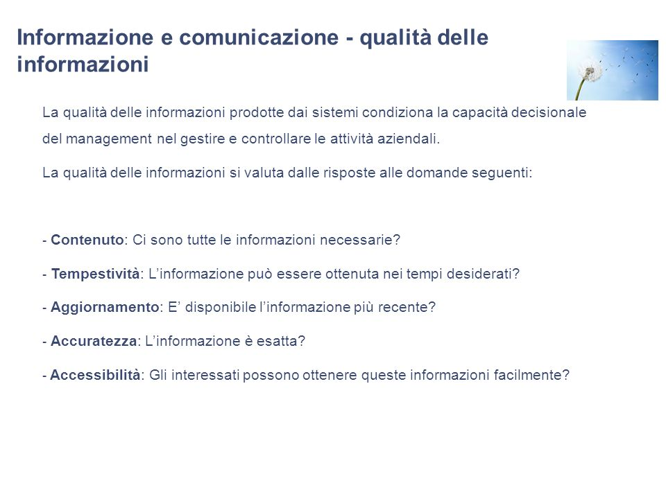 Informazione e comunicazione - qualità delle informazioni