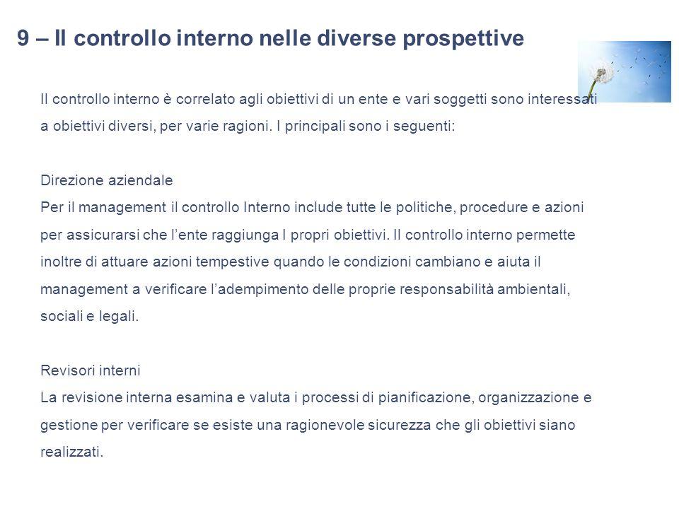 9 – Il controllo interno nelle diverse prospettive