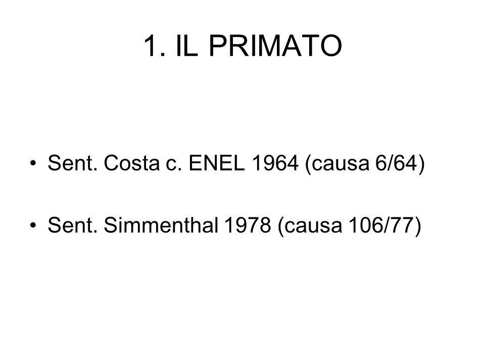 1. IL PRIMATO Sent. Costa c. ENEL 1964 (causa 6/64)