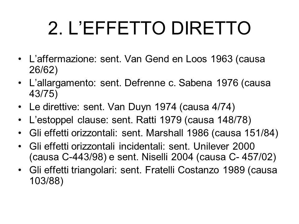 2. L'EFFETTO DIRETTO L'affermazione: sent. Van Gend en Loos 1963 (causa 26/62) L'allargamento: sent. Defrenne c. Sabena 1976 (causa 43/75)