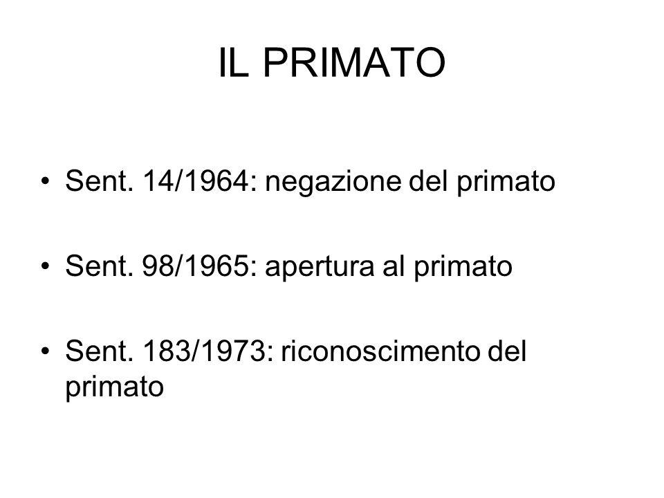 IL PRIMATO Sent. 14/1964: negazione del primato