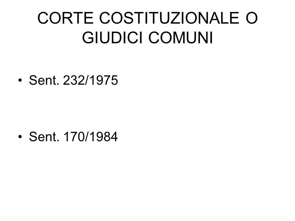 CORTE COSTITUZIONALE O GIUDICI COMUNI