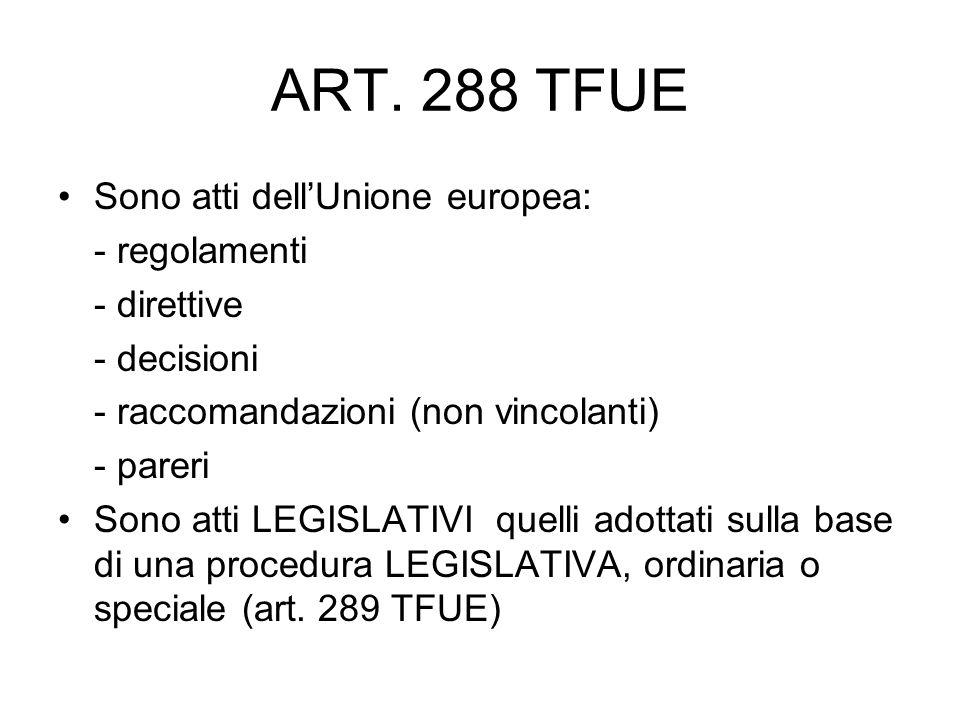 ART. 288 TFUE Sono atti dell'Unione europea: - regolamenti - direttive