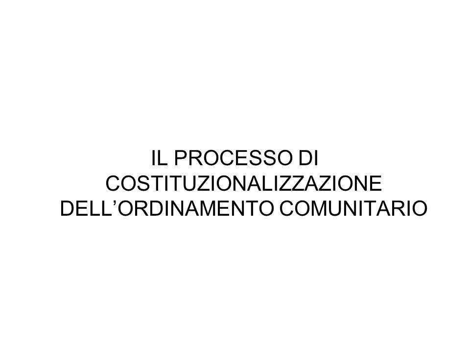 IL PROCESSO DI COSTITUZIONALIZZAZIONE DELL'ORDINAMENTO COMUNITARIO