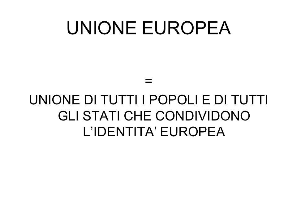 UNIONE EUROPEA = UNIONE DI TUTTI I POPOLI E DI TUTTI GLI STATI CHE CONDIVIDONO L'IDENTITA' EUROPEA