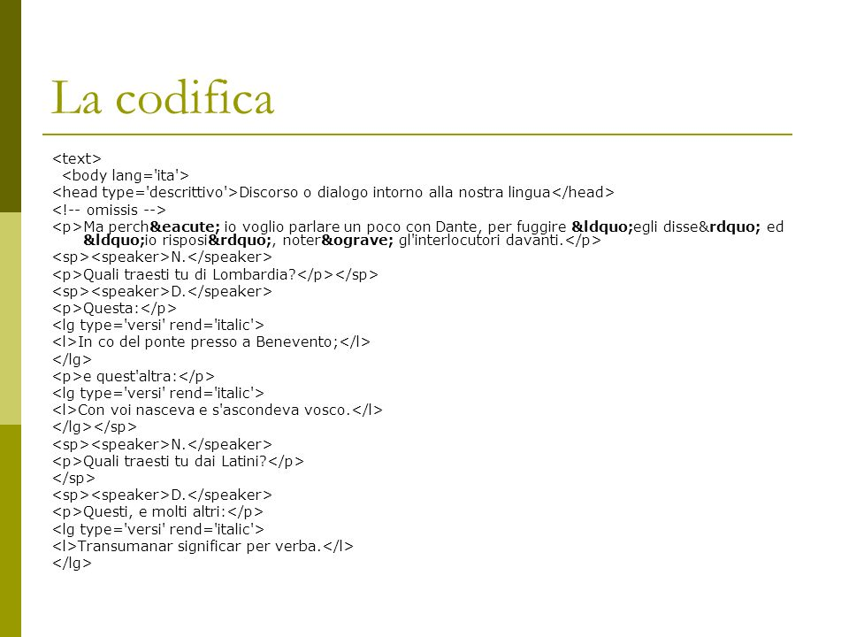 La codifica <text> <body lang= ita >