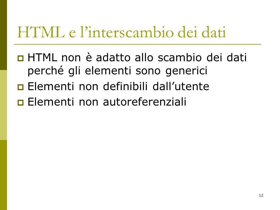 HTML e l'interscambio dei dati