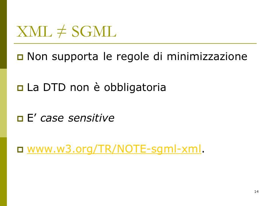 XML ≠ SGML Non supporta le regole di minimizzazione