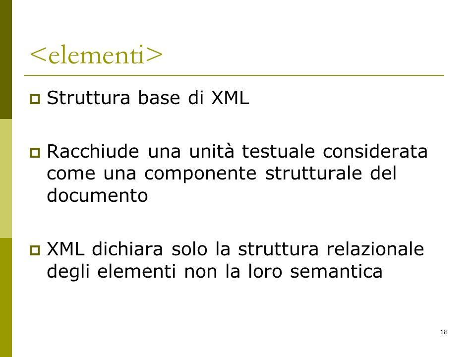 <elementi> Struttura base di XML