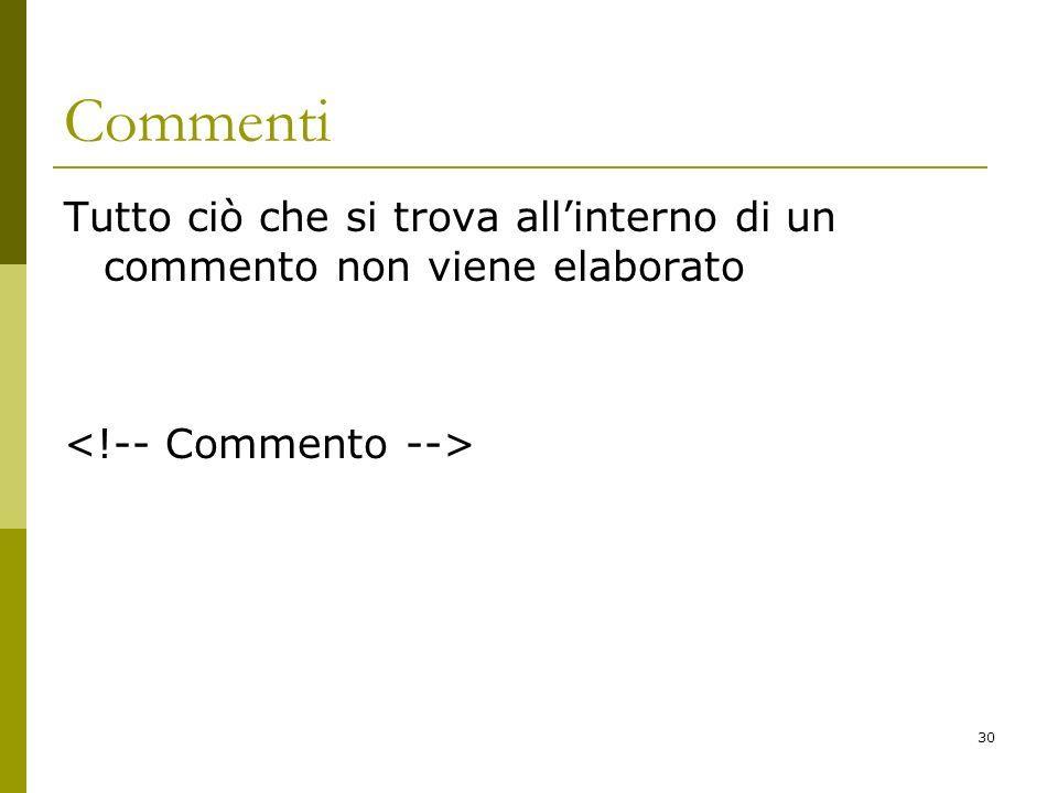 Commenti Tutto ciò che si trova all'interno di un commento non viene elaborato <!-- Commento -->
