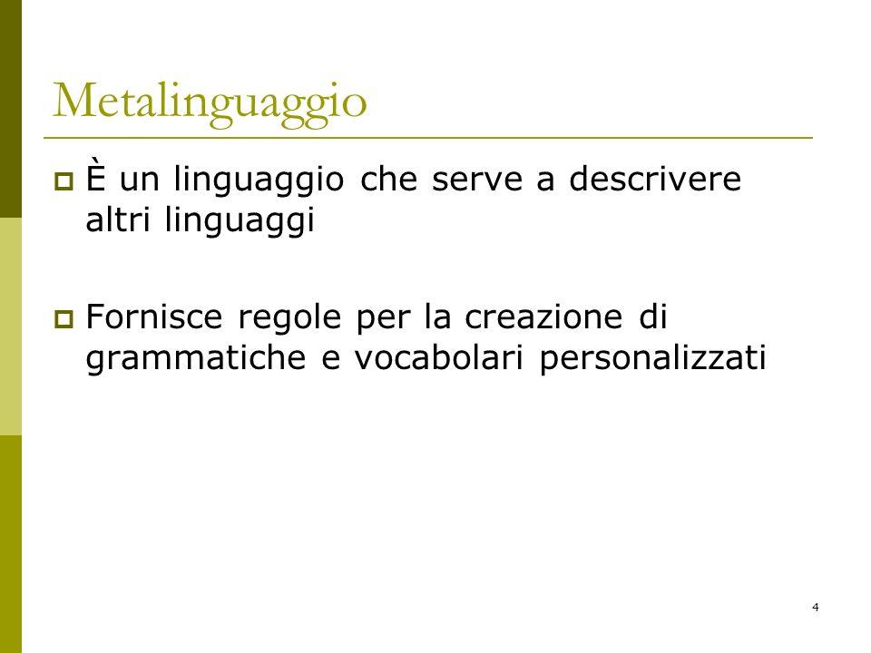 Metalinguaggio È un linguaggio che serve a descrivere altri linguaggi