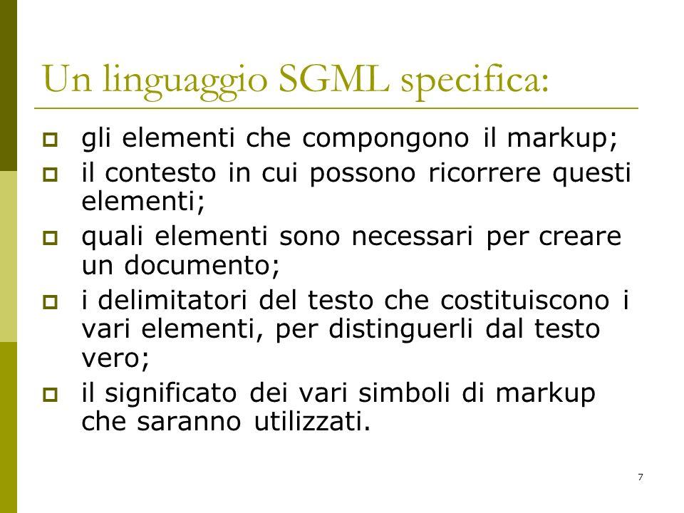 Un linguaggio SGML specifica: