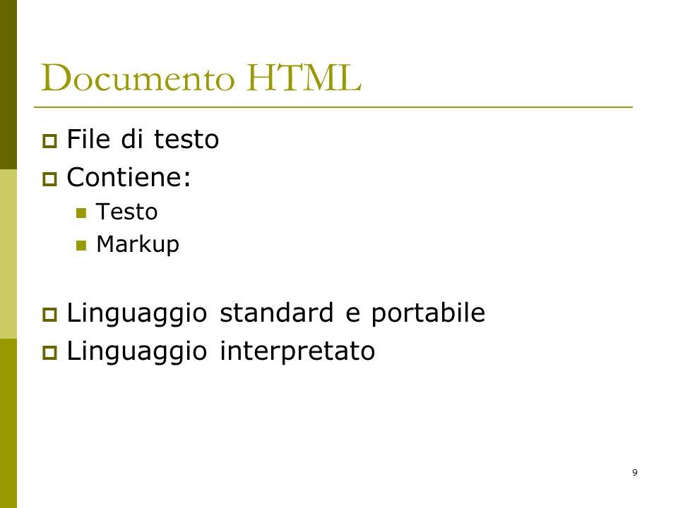 Documento HTML File di testo Contiene: Linguaggio standard e portabile