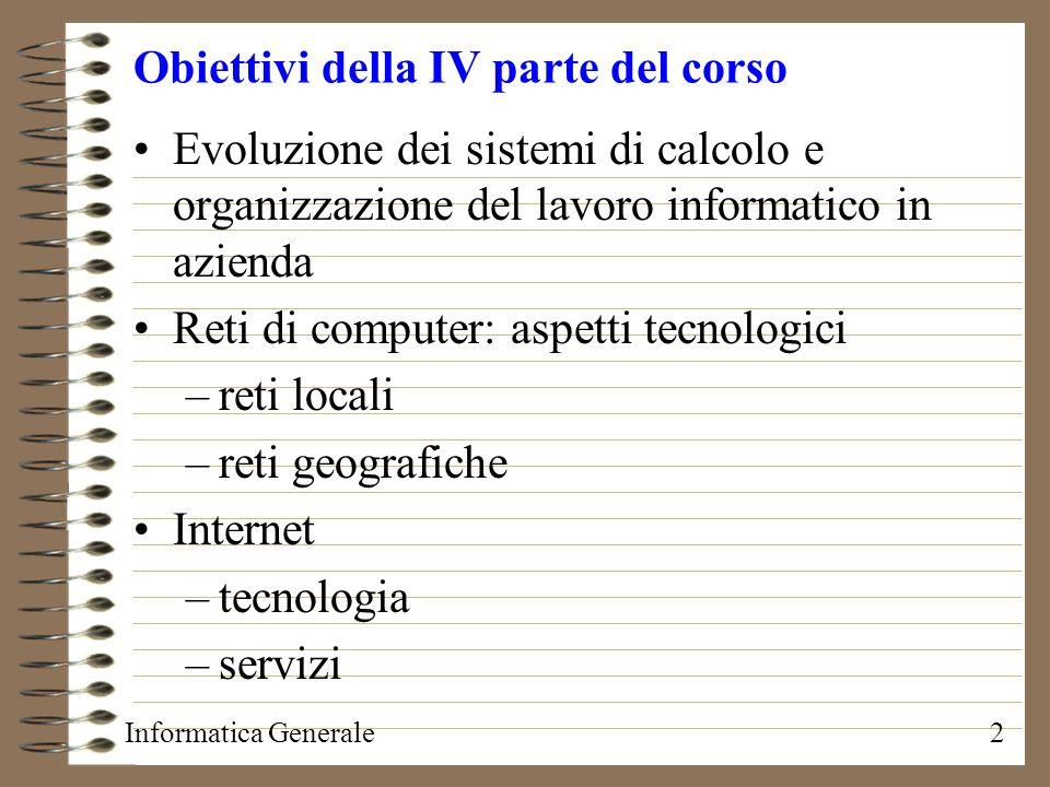 Obiettivi della IV parte del corso