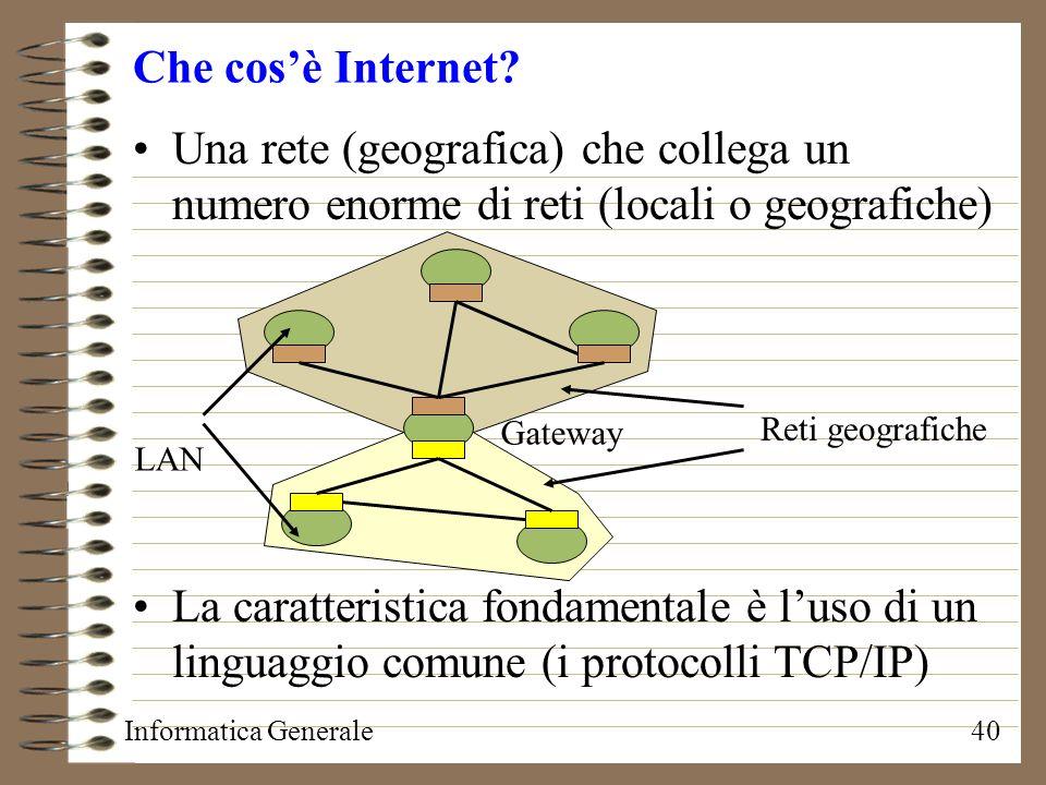 Che cos'è Internet Una rete (geografica) che collega un numero enorme di reti (locali o geografiche)