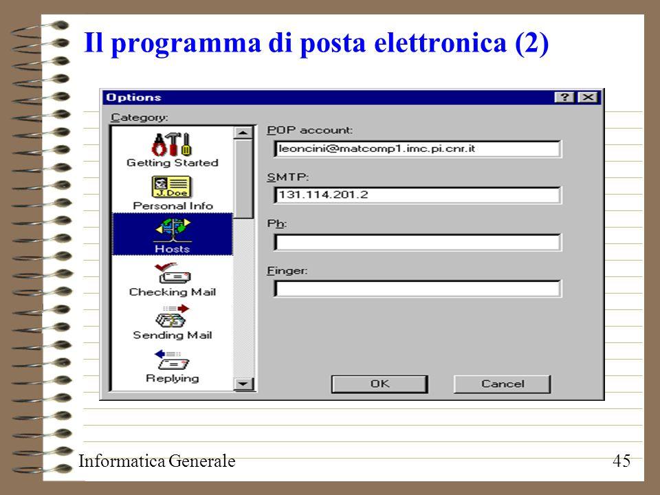 Il programma di posta elettronica (2)