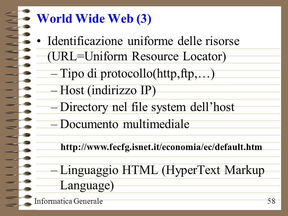 Identificazione uniforme delle risorse (URL=Uniform Resource Locator)