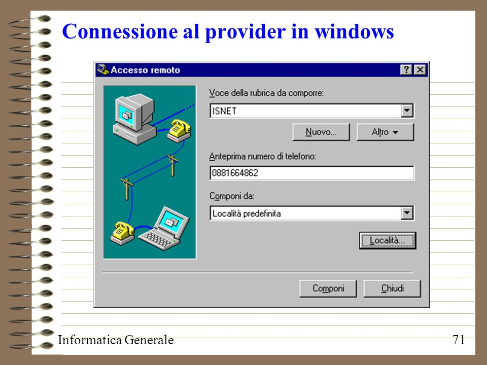 Connessione al provider in windows