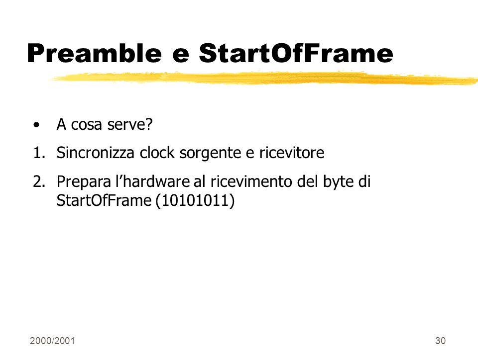 Preamble e StartOfFrame