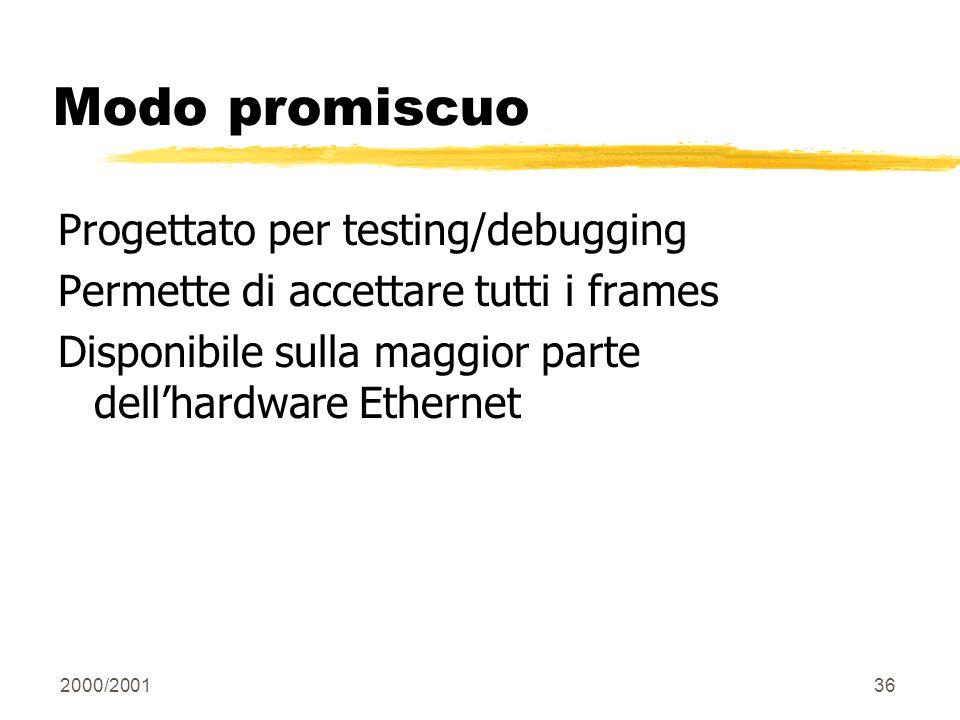 Modo promiscuo Progettato per testing/debugging