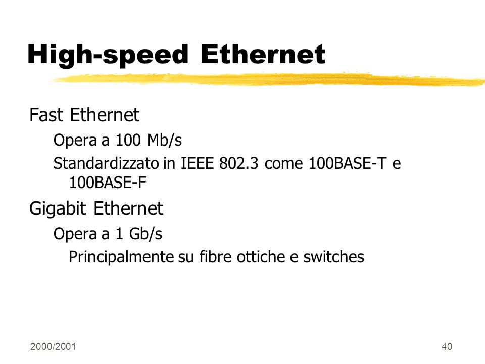 High-speed Ethernet Fast Ethernet Gigabit Ethernet Opera a 100 Mb/s