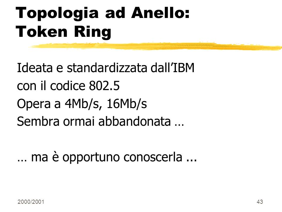 Topologia ad Anello: Token Ring