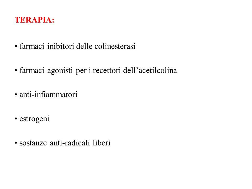 TERAPIA:• farmaci inibitori delle colinesterasi. • farmaci agonisti per i recettori dell'acetilcolina.