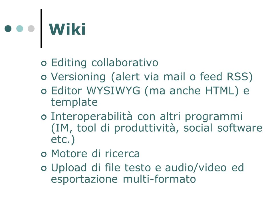 Wiki Editing collaborativo Versioning (alert via mail o feed RSS)