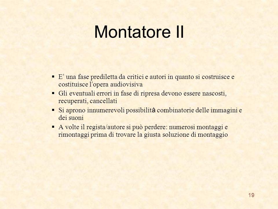 Montatore II E' una fase prediletta da critici e autori in quanto si costruisce e costituisce l'opera audiovisiva.