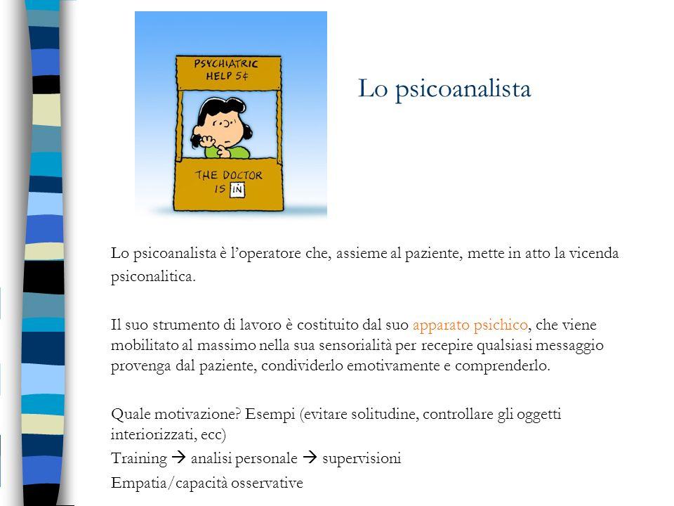 Lo psicoanalista Lo psicoanalista è l'operatore che, assieme al paziente, mette in atto la vicenda psiconalitica.