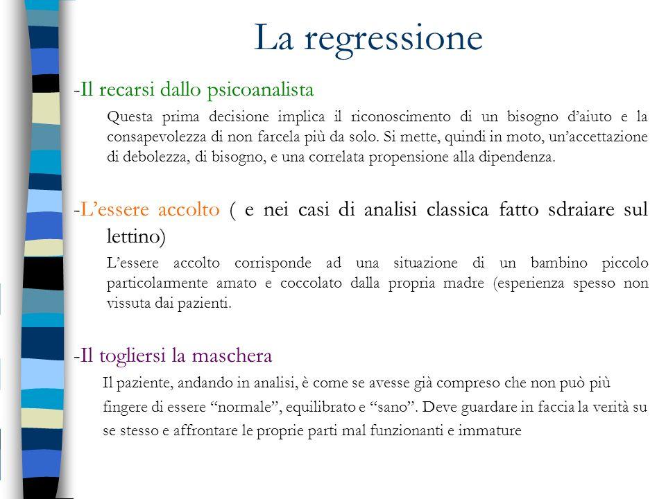 La regressione -Il recarsi dallo psicoanalista