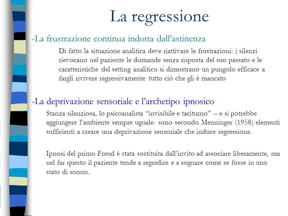 La regressione -La frustrazione continua indotta dall'astinenza