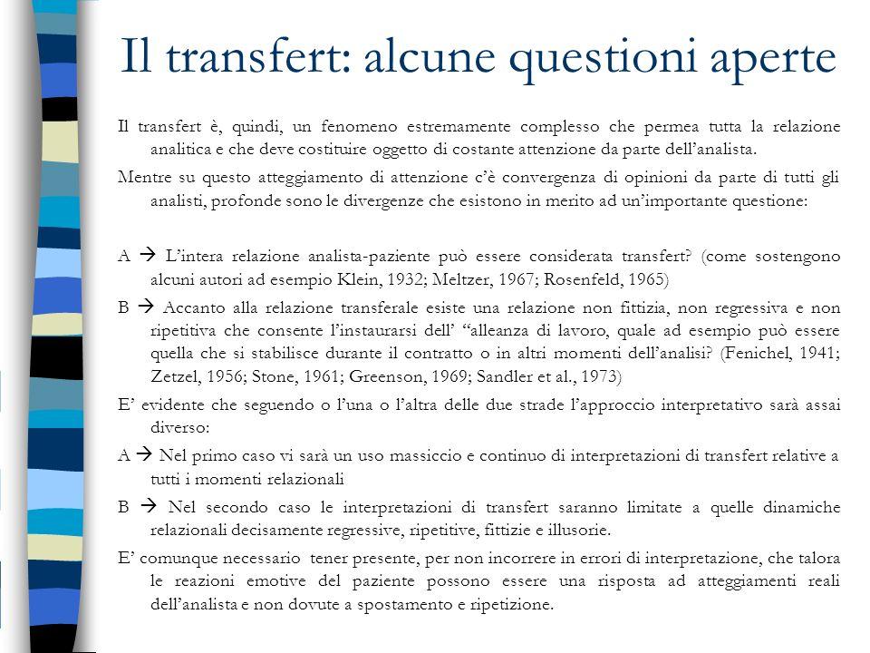 Il transfert: alcune questioni aperte