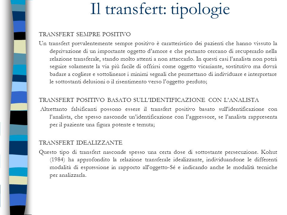 Il transfert: tipologie