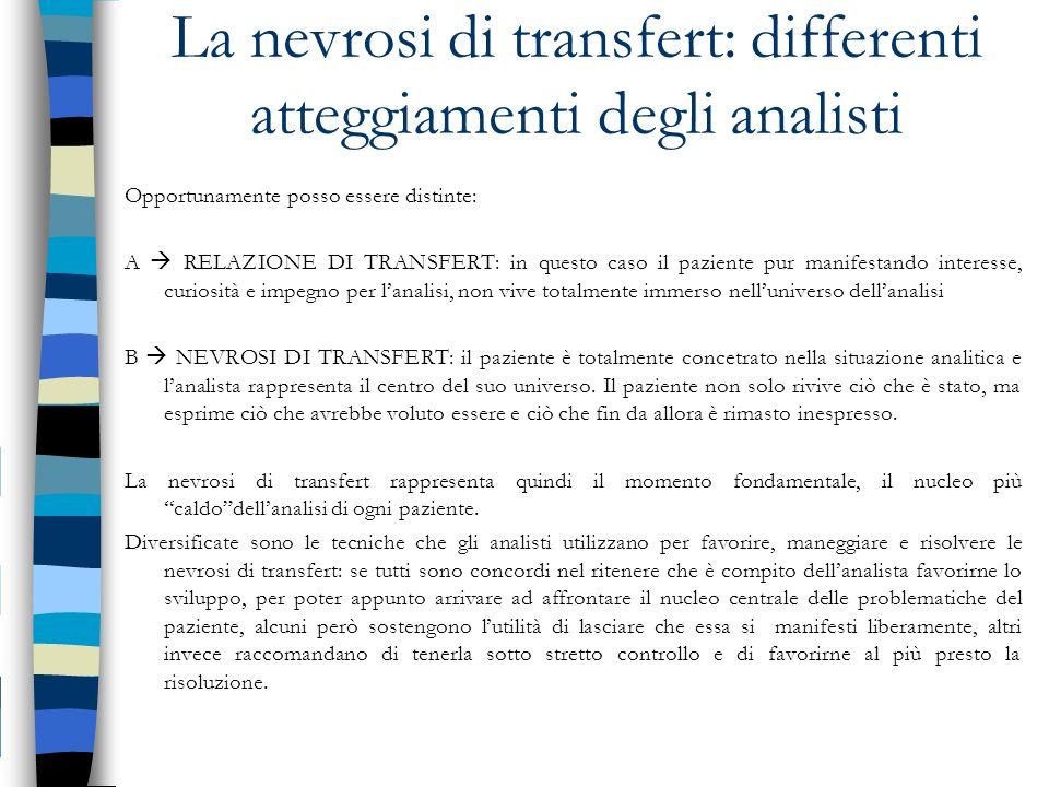 La nevrosi di transfert: differenti atteggiamenti degli analisti