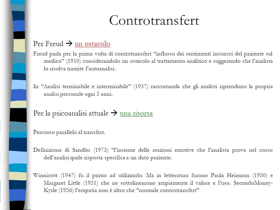 Controtransfert Per Freud  un ostacolo