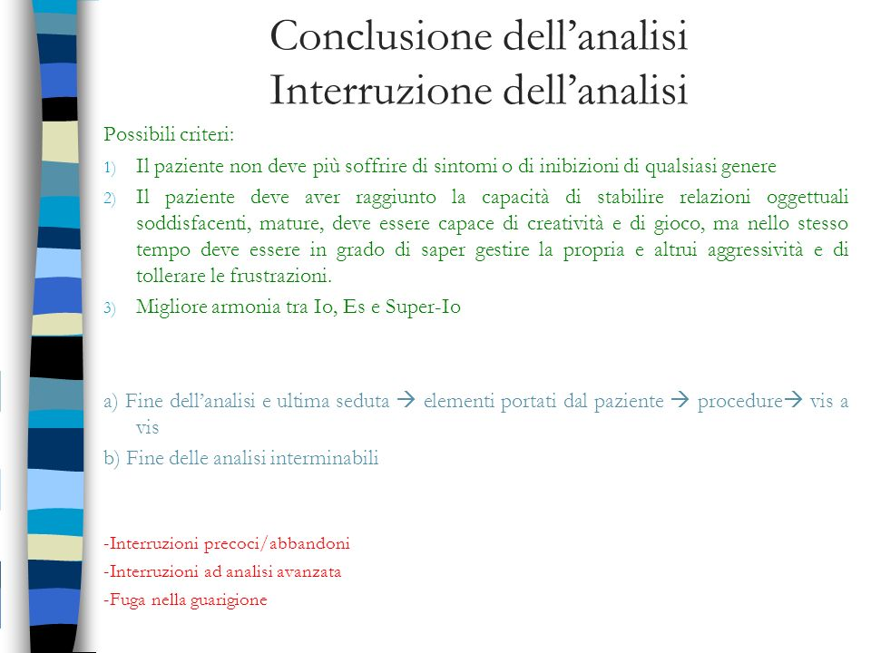 Conclusione dell'analisi Interruzione dell'analisi