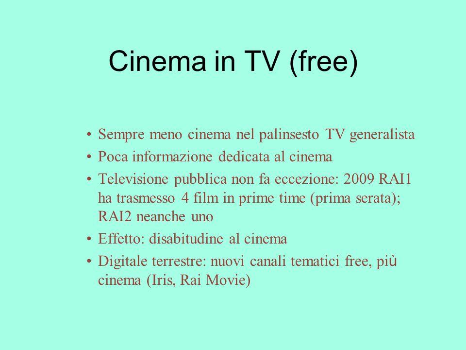 Cinema in TV (free) Sempre meno cinema nel palinsesto TV generalista