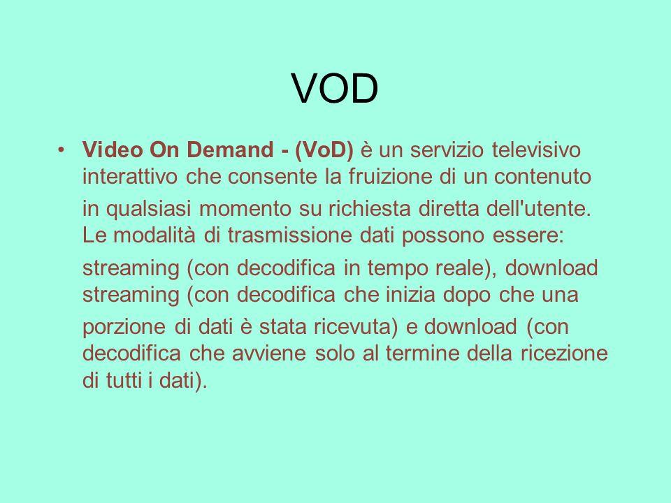 VOD Video On Demand - (VoD) è un servizio televisivo interattivo che consente la fruizione di un contenuto.