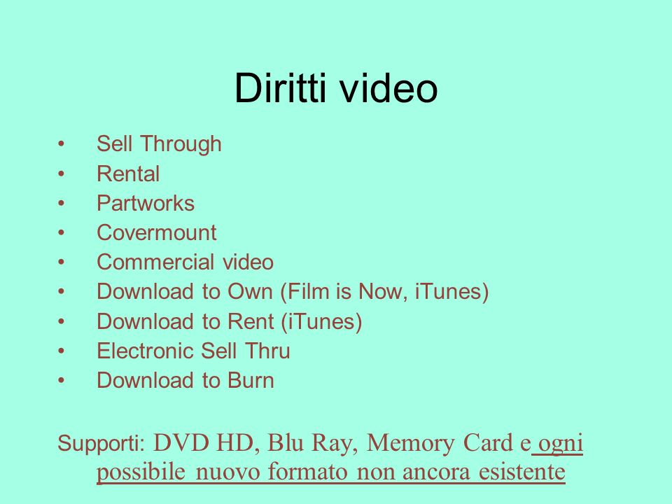 Diritti video Sell Through Rental Partworks Covermount
