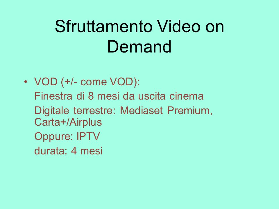 Sfruttamento Video on Demand