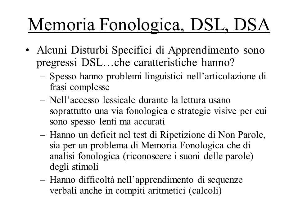 Memoria Fonologica, DSL, DSA