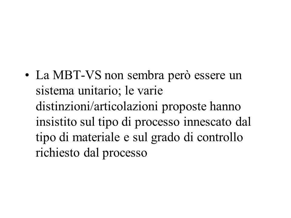 La MBT-VS non sembra però essere un sistema unitario; le varie distinzioni/articolazioni proposte hanno insistito sul tipo di processo innescato dal tipo di materiale e sul grado di controllo richiesto dal processo