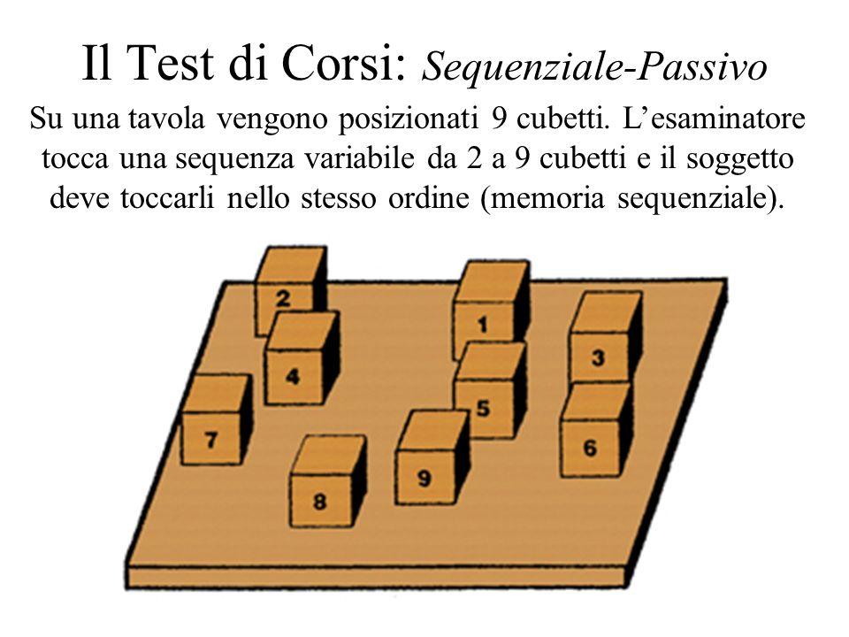Il Test di Corsi: Sequenziale-Passivo