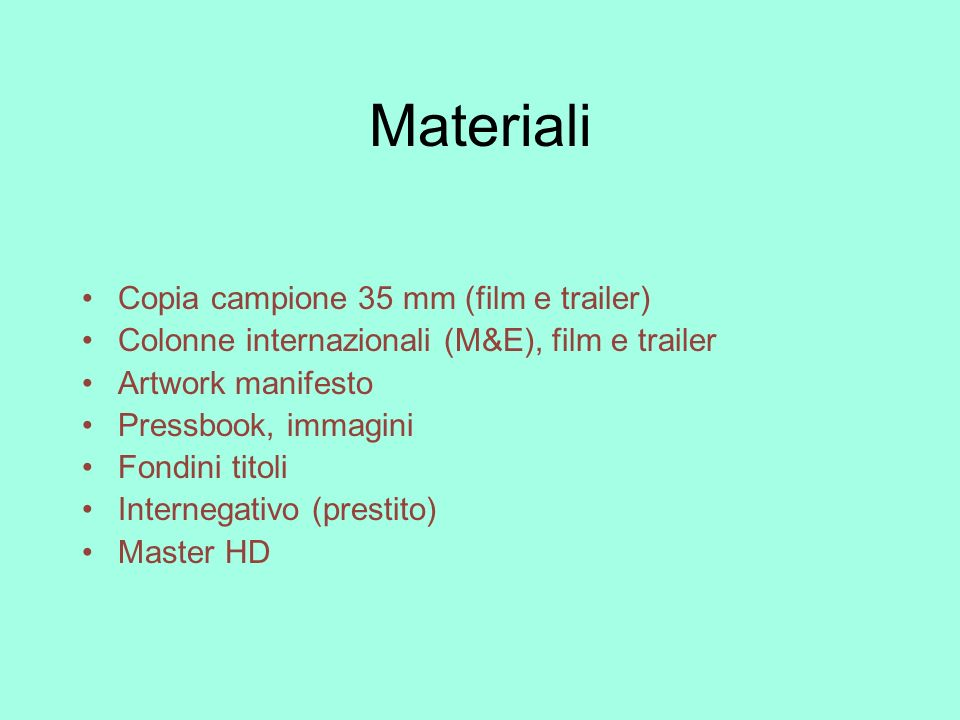Materiali Copia campione 35 mm (film e trailer)