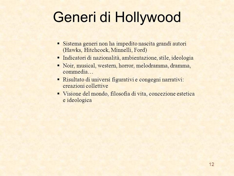 Generi di Hollywood Sistema generi non ha impedito nascita grandi autori (Hawks, Hitchcock, Minnelli, Ford)