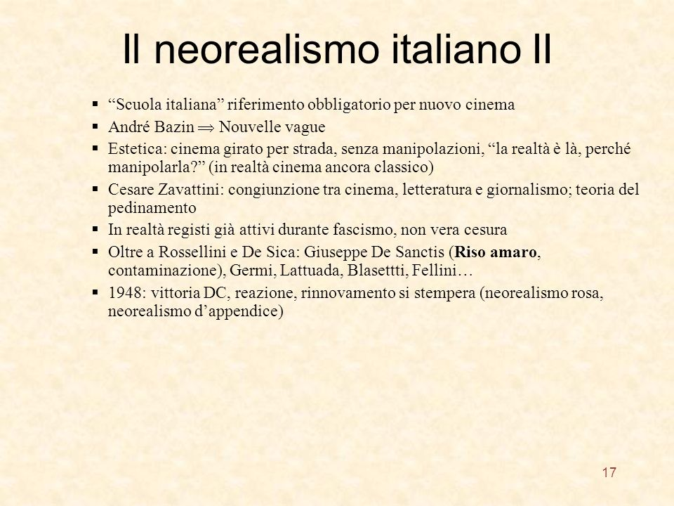 Il neorealismo italiano II